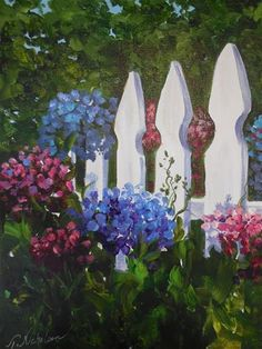 """Daily Paintworks - """"White Picket Fence"""" by Terri Nicholson"""