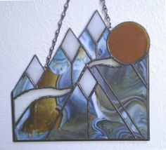 Mountain Peaks at Sunset stained glass for wall or window (item 171)