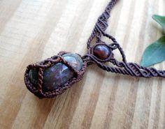 Agate macrame necklace macrame jewelry gemstone by SelinofosArt