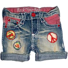 Vintage Peace Denim Shorts