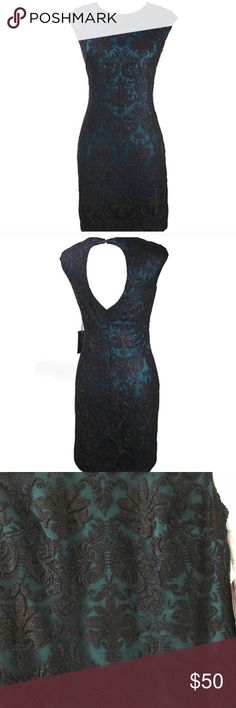 NWOT Vince Camuto Cocktail Dress Beautiful teal green dress with a black lace overlay by Vince Camuto. Originally $150. Never worn. Vince Camuto Dresses