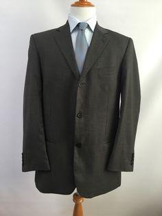 GIORGIO COSANI Super 120's Wool Gray 3-Button Sport Coat Blazer Suit Jacket 44L #GiorgioCosani #ThreeButton