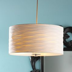 For over the kitchen eating table?  Pintuck Pleated Silk Drum Shade Pendant (shadesoflight.com)