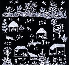 Warli art depicting rural life in the Maharashtra region, India.