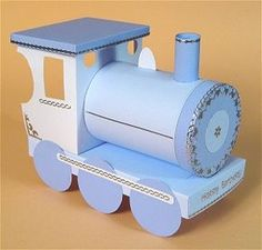 Card Craft / Card Making Templates - Opening Gift Train by Card Carousel Cardboard Train, Paper Train, Cardboard Crafts, 3d Paper Crafts, Paper Toys, Train Template, Card Making Templates, Shower Bebe, Model Train Layouts
