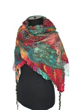 Scarf Nuno Felted Scarf Textured Wool Wrap Hand by FeltedPleasure, $158.00