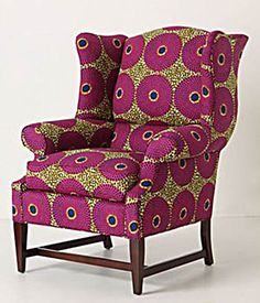 Josef Wingback Chair - Wide, sturdy and built with exaggerated wings, our favorite Queen Anne chair is now upholstered in a limited run of African wax fabric. African Interior, African Home Decor, Cool Furniture, Furniture Design, African Furniture, African Design, Upholstered Furniture, African Fabric, Soft Furnishings