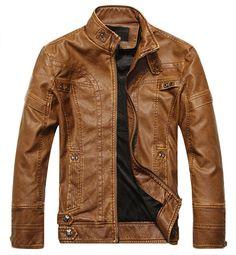 vegan jacket Chouyatou Men's Vintage Stand Collar Pu Leather Jacket at Amazon Men's Clothing store: