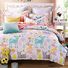 Cliab Woodland Animal Friends Deer Rabbit Flower Bedding Pink Green Orange Yellow Girls Teen kids Twin Duvet Cover Set 100% Cotton 5 Pieces