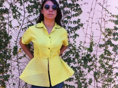 Vintage 40s 50s neon rayon peplum coat by aliciaanais