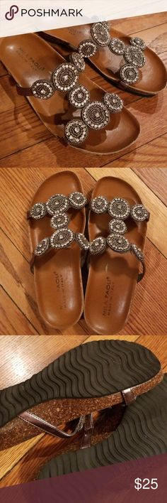 Mila Paoli Sandals Leather on Cork sole with rubber tread bottom. Crazy comfort in this Slip on contoured leather slipper. Gorgeous sparkle! A few rhinestones missing see pics, but hardly noticeable unless looking super close. Mila Paoli Shoes