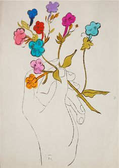 Warhol roses | Andy Warhol Hand And Flowers Susan Sheehan Gallery Ifpda Date Ca 1957