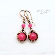 Hot Pink Copper Earrings - Pillar of Salt Studio, Inc. Wire Wrapped Earrings, Copper Earrings, Copper Jewelry, Wire Jewelry, Stud Earrings, Jewelry Logo, Copper Wire, Jewelery, Custom Jewelry
