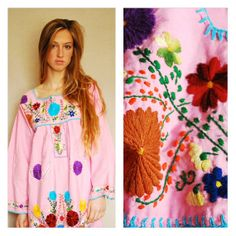 Vintage Mexican Mexico Handmade Embroidered Flower Tunic Maxi Peasant Dress Pink with Multi Colored Flowers Embroidery Small Medium Large