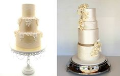 pale+gold+wedding+cakes+by+Aimee+Jayne+Cakes+left,+Sweet+Disposition+Cakes+right