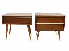 Brown Saltman Modernist Side Tables - A Pair on Chairish.com
