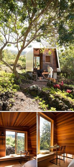 This small and modern cabin houses a small bedroom that looks out towards the lava flow through a large sliding window. Inside, the walls are covered in wood and there's just enough room for a bed, a built-in bench and a small desk with chair. #ModernCabin #Architecture #LuxuryBeddingApartmentTherapy