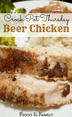 Moist and flavorful, this Crock Pot Beer Chicken is easy and delicious! #slowcooker #onepot
