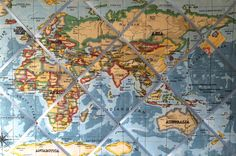 Extra large 90x60cm Prestigious Blue World Map / Atlas Hand Crafted Fabric Notice / Pin / Memo / Memory Board £52.99