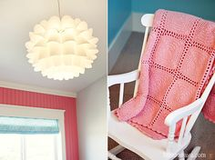 Turquoise and pink little girls bedroom with fun light fixture designed by Lindy Allen of Four Chairs Furniture. Built by Millhaven Homes. Photographed by Hiya Papaya.