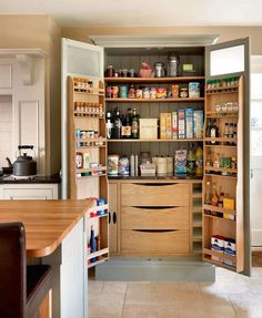 Fantastic great and amusing wooden kitchen pantry cabinet : Brown Wooden Desk Also With Wooden Pantry Kicthen Also With Chest Of Drawer Drinking And Food Stand Alone Kitchen Pantry, Kitchen Pantry Design, Kitchen Pantry Cabinets, Kitchen Redo, Living Room Kitchen, New Kitchen, Kitchen Storage, Kitchen Remodel, Pantry Storage