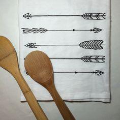 Tea Towel, Arrows, Kitchen Towel by BreakoutPressCo on Etsy https://www.etsy.com/listing/225270006/tea-towel-arrows-kitchen-towel