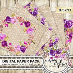 Watercolor Flower digital paper pack Kraft Paper