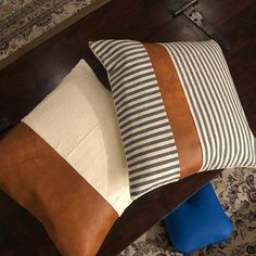 Mudcloth and Faux Leather Pillow Covers Assorted Colors Diy Pillow Covers, Pillow Cover Design, Diy Pillows, Pillow Set, Throw Pillows, Sofa Pillows, Couches, Pillow Inspiration, Pregnancy Pillow