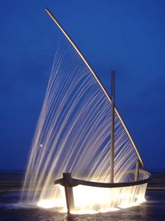 lights, beach photos, sail boat art, fountains, water boat