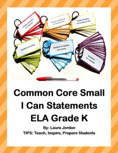 Common Core I Can Statements Small ELA K product from TIPS on TeachersNotebook.com