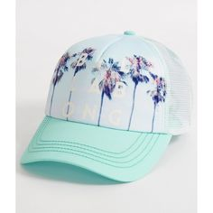 Billabong Take Me Three Trucker Hat ($23) ❤ liked on Polyvore featuring accessories, hats, turquoise, billabong, snapback trucker hats, snap back hats, snapback trucker cap and billabong hats