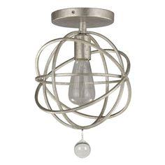 Crystorama Solaris 1 Light Silver Wrought Iron Ceiling Mount #lighting #lightfixtures  #homedecor