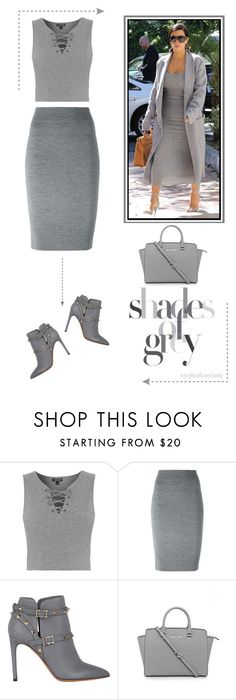 """Kim-spiration: Shades of Gray"" by nycfashionista ❤ liked on Polyvore featuring Topshop, Alexander McQueen, Valentino and Michael Kors"