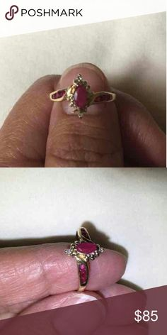 ❤🌟🎉💎Ruby and Diamond Ring 14KT🎉🌟❤💎 💎❤💎Beautiful Ruby ring with diamonds wrapped around a Marquis cut ruby gemstone. Everything set in solid 14KT. Make an offer and don't forget to bundle to save even more!💎❤💎  🎁Free Gift with purchase🎁 Jewelry Rings