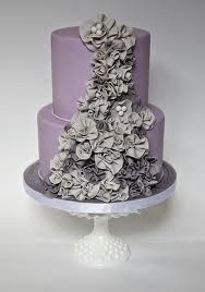 lovely purple cake with fabric flower accent