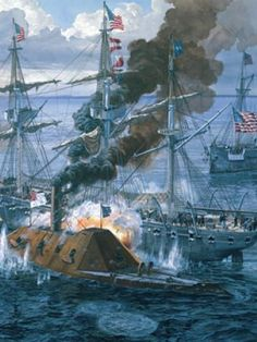 The  CSS Tennessee engages the USS Oneida and USS Chickasaw at the Battle of Mobile Bay on August 5, 1864.  The Tennessee, fighting virtually alone, was finally battered to the point she had to surrender.  The Federals eventually repaired her and she was placed into Federal service as the USS Tennessee.