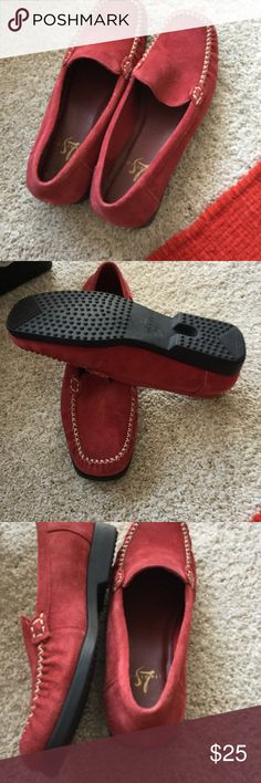 Red shoes 7w Red suede shoes never worn 7W. Cream stitching black rubber soles. No marks etc. Nwot lifestride Shoes Flats & Loafers