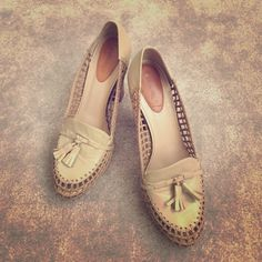 Beige woven leather heels Beige woven leather heels. Brown solid heel. Decorate tassels on toe box. Hidden platform for lots of extra height. Lots of airflow. Worn twice only! In original box Calonge Shoes Heels