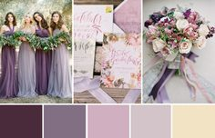 Combining romantic florals and pretty details, purple is going to be a very popular wedding colour this year, this colour palette shows who how to create a gorgeous look