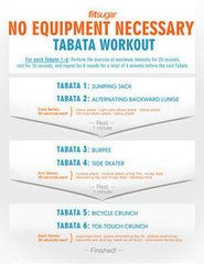 Tabata interval workouts are all the rage these days, and for good reason. This high-intensity training is fun, blasts calories, and moves so quickly it's hard to get bored. For tabata, you perform an exercise at maximal intensity for 20 seconds, followed by 10 seconds of rest. You repeat this pattern a total of eight times, making one tabata round four minutes.