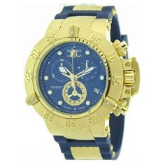 Invicta 15800 Men's Subaqua Blue Dial Gold Plated Steel Blue Rubber Strap Chronograph Dive Watch,