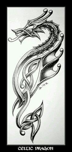 celtic dragon tattoo design: Because I'm Irish and I love dragons - My most beautiful tattoo list Celtic Dragon Tattoos, Dragon Tattoo Designs, Viking Tattoos, Viking Dragon Tattoo, Tatoo 3d, Tattoo Tribal, I Tattoo, Chest Tattoo, Tattoo Flash