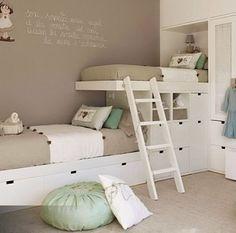 Lits superposés décalés http://www.m-habitat.fr/par-pieces/chambre/quelles-couleurs-choisir-pour-une-chambre-d-enfant-3244_A