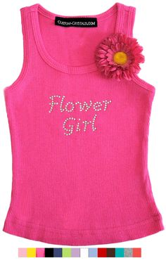 Rhinestone Flower Girl Tank with Removable Daisy Pin $24.95   but I want it to say Maid of Honor for Ava