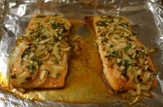 salmon with a soy and honey glaze with onions, garlic, and cilantro
