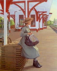Anne Shirley waiting at the train station with her carpet bag. Illustration from The Anne of Green Gables Treasury by Carolyn Strom Collins and Christina Wyss Eriksson. Green Gables Fables, Illustration Noel, Illustration Children, Orphan Girl, Anne With An E, Anne Shirley, Prince Edward Island, Children's Literature, Fairy Tales