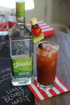 A bloody mary is a great cocktail option for an early tailgate or at-home football party.   Lime Bloody Mary ~ 1 oz @eljimadorteq Mexican Lime (or el Jimador Blanco) 3 oz Bloody Mary Mix ~ Garnish: Skewer of cheese, olives, peppadew pepper and celery