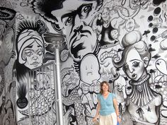 Black and white mural blending styles by various artists (as seen in Montreal)