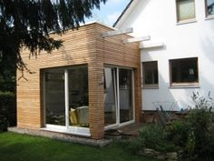 Stocking up conversion building with timber construction - Hunoldhaus - Haus - Anbau Bungalow Extensions, House Extensions, Wood Cladding Exterior, Garden Huts, Building Extension, Outdoor Doors, Outside Patio, House Viewing, Little Houses