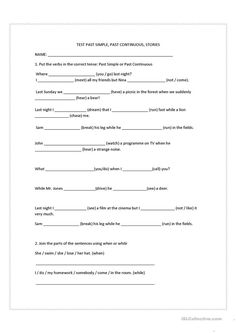 Past simple past continuous stories - English ESL Worksheets for distance learning and physical classrooms English Story, Learn English, English Exercises, Mood And Tone, Teaching Jobs, News Sites, How To Run Faster, Writing Skills, Elementary Schools